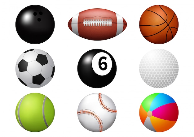 Sport ball icon set. Premium Vector