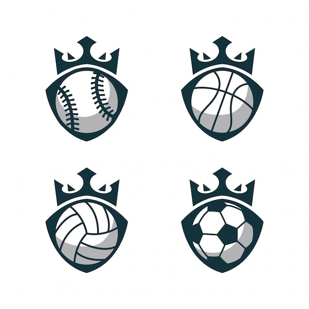 Sport ball logo with crown Premium Vector