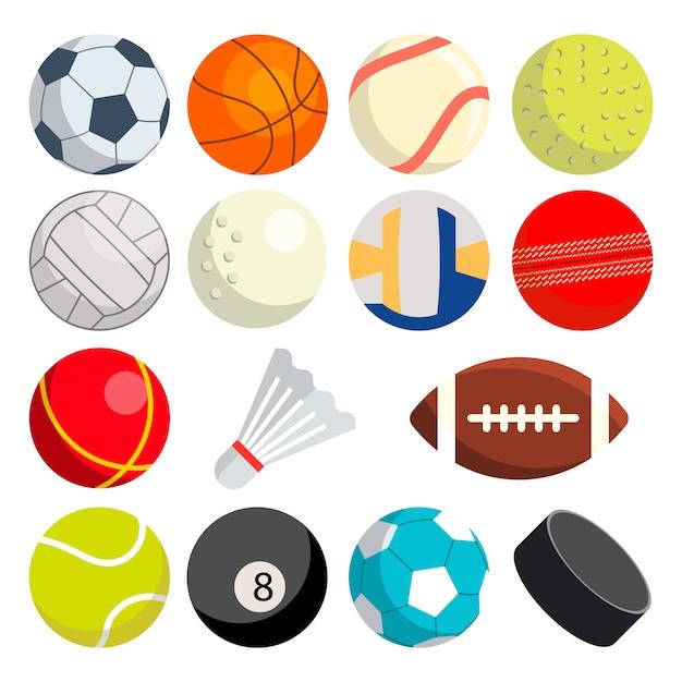 Sport balls set: soccer, rugby, baseball, basketball, tennis, puck, volleyball Premium Vector