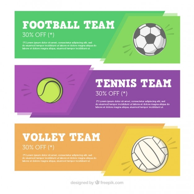Sport banner collection Free Vector