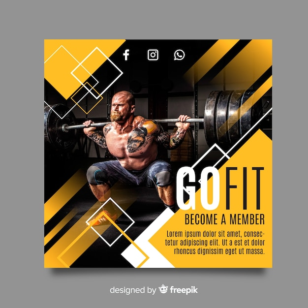 Sport banner template with photo Premium Vector