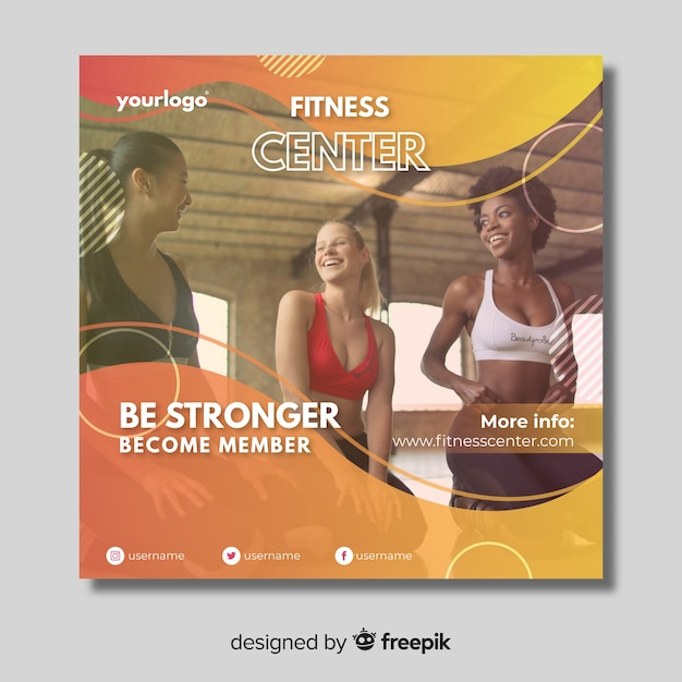 Sport banner template with photo Free Vector