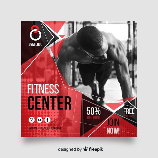 Sport banner with photo flat design Free Vector