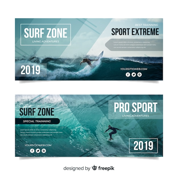 Sport banners template with photo Free Vector