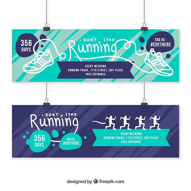 Sport banners with drawings