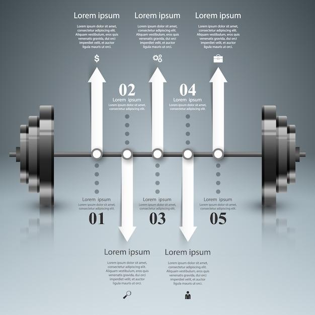 Sport barbell infographic. Premium Vector