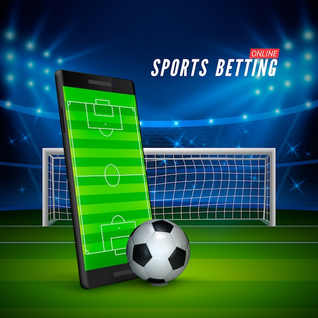 Premium Vector | Sport betting online. mobile phone with soccer field on  screen and realistic football ball in front. soccer stadium on background.