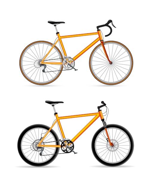 Спортивный велосипед дизайн набор иконок Premium векторы