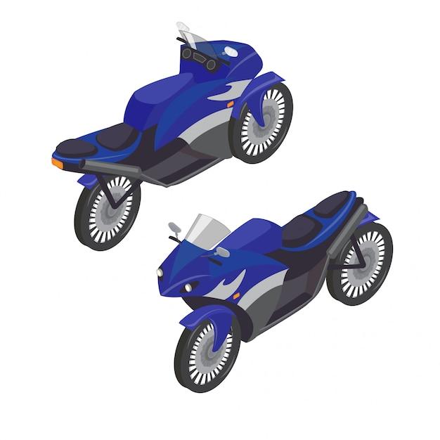 Sport bike isometric transportation Premium Vector