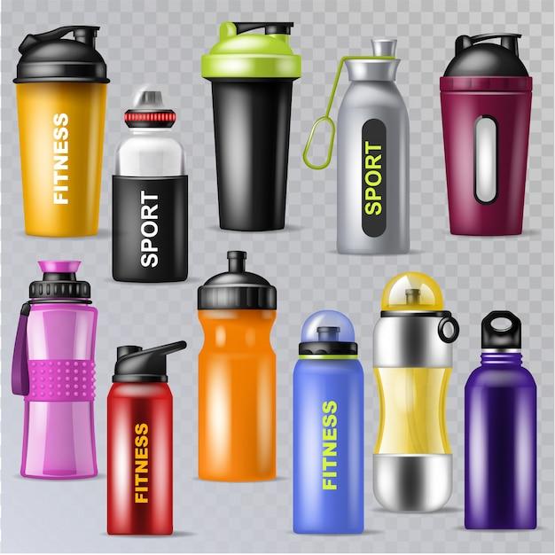 Спорт бутылка спортивная вода в бутылках напиток термо и фитнес пластиковый энергетический напиток иллюстрации спортивный набор бутылок, изолированных на прозрачном фоне Premium векторы