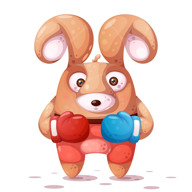 Sport, boxing illustration. crazy rabbit characters Premium Vector