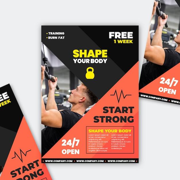 Sport brochure gym concept Free Vector