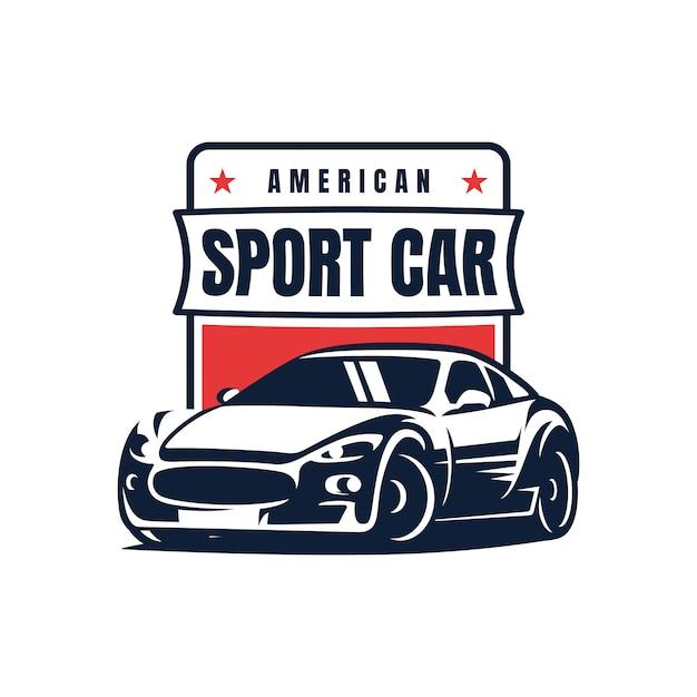 Sport car badge logo design Premium Vector