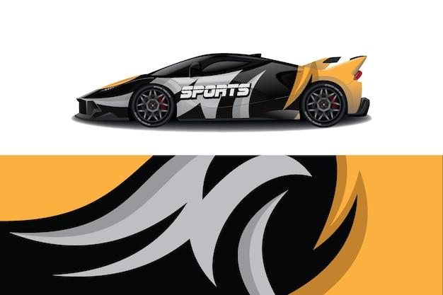 Дизайн наклейки для спортивного автомобиля Premium векторы