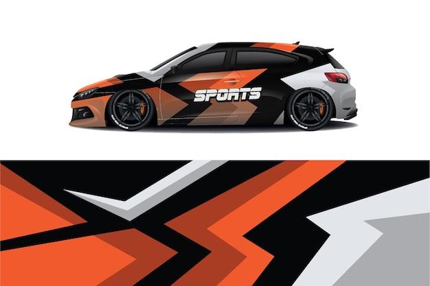 Sport car decal wrap design Premium Vector