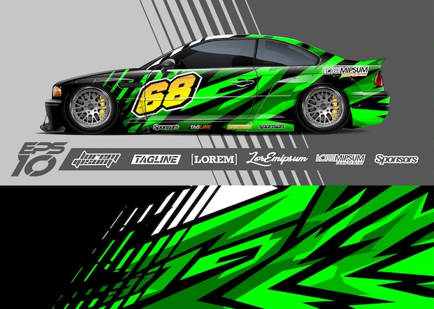 Иллюстрация обертывания наклейки спортивного автомобиля Premium векторы