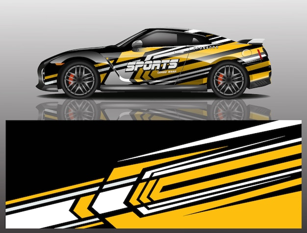 Sport car decal wrap illustration Premium Vector