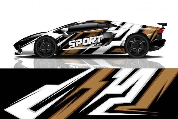 Sport car decal wrap Premium Vector