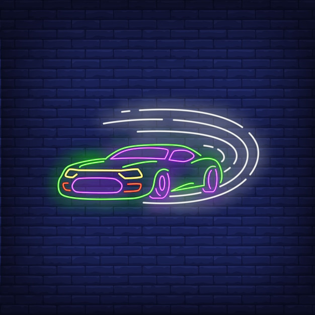 Sport car driving fast neon sign Free Vector