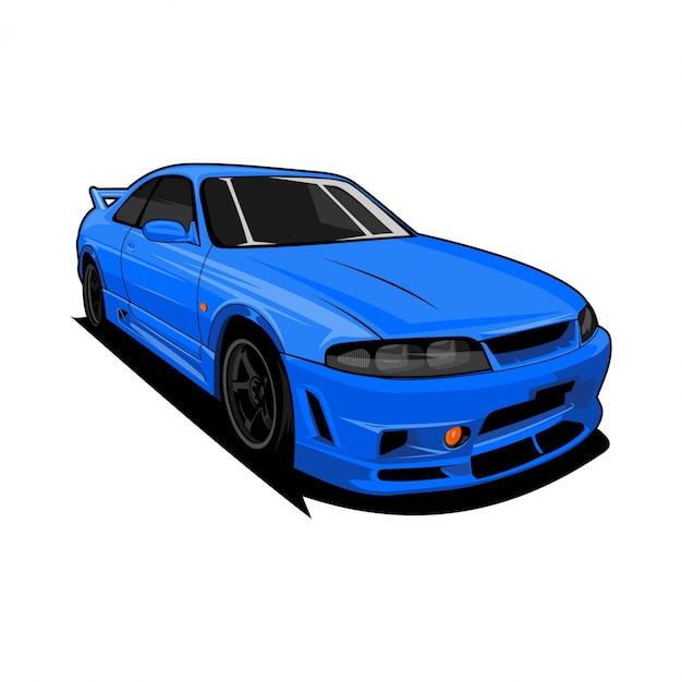 スポーツ車の正面図 Premiumベクター