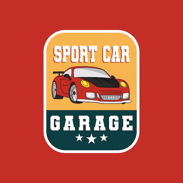 Sport car garage badge logo Premium Vector