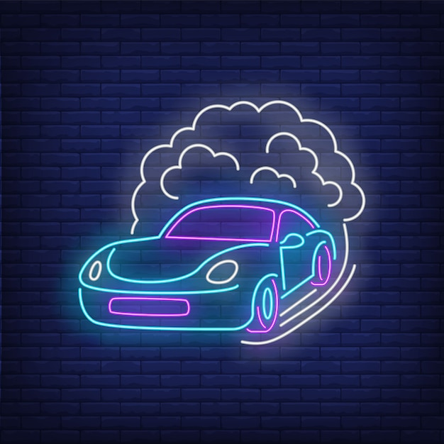 Sport car increasing speed neon sign Free Vector