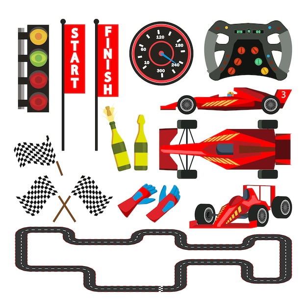Sport car racing icons set Premium Vector