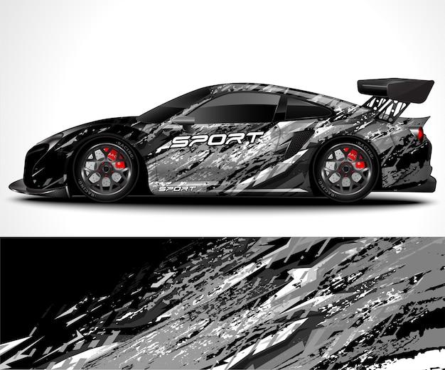 Дизайн упаковки спортивного автомобиля и ливрея автомобиля Premium векторы
