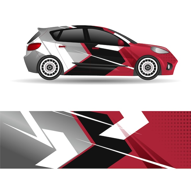 Sport car wrap design Premium Vector