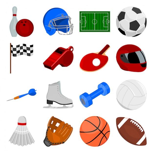 Sport cartoon set icon Premium Vector