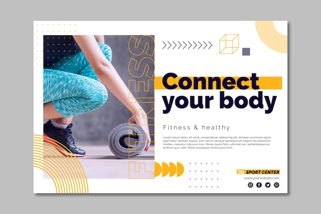 Sport center banner template with photo Free Vector