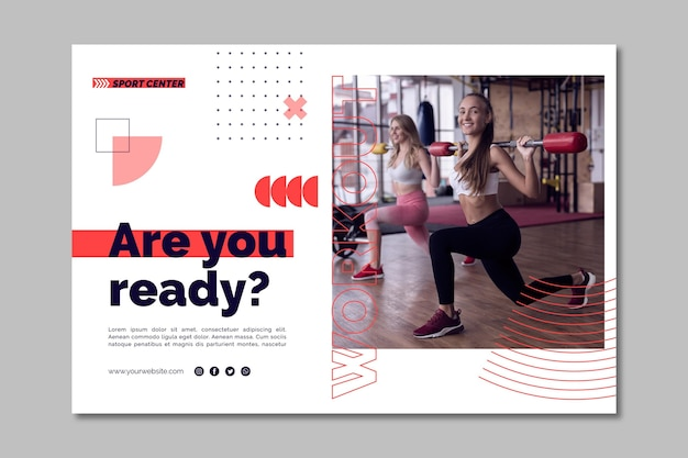 Sport center horizontal banner template with photo Free Vector