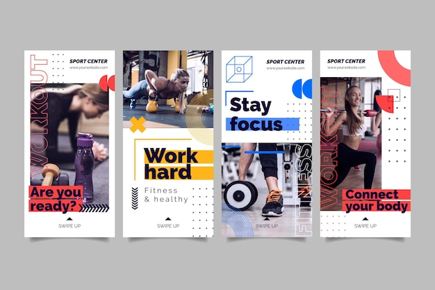 Sport center instagram stories template with photo Premium Vector