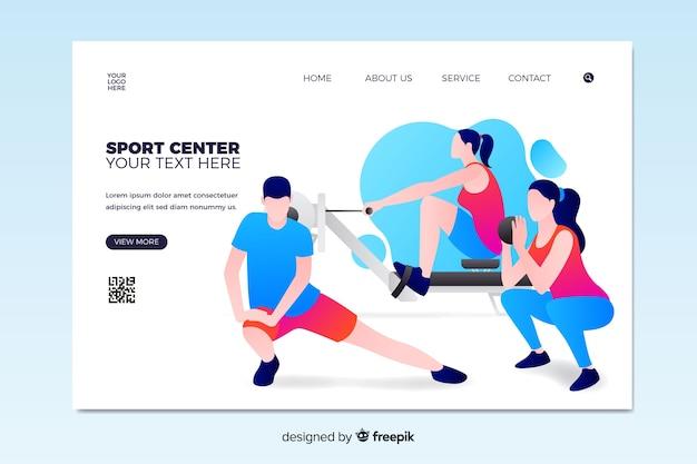 Pagina di destinazione del centro sportivo Vettore gratuito