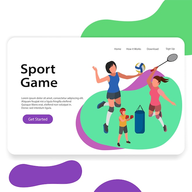 Sport centre illustration volleyball badminton landing page Premium Vector