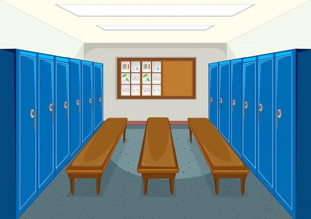 ロッカーの背景を持つスポーツ更衣室 無料ベクター