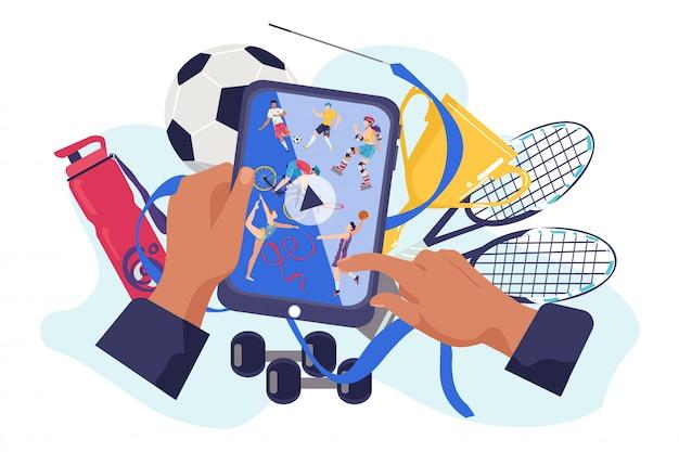 장치 그림에 스포츠 채널. 인터넷 기술은 스크린 홈에서 온라인 비디오 피트니스를 방송합니다. 디지털 전화 프로그램, 현대 엔터테인먼트, 커뮤니케이션 개념에 대한 운동 활동. 프리미엄 벡터