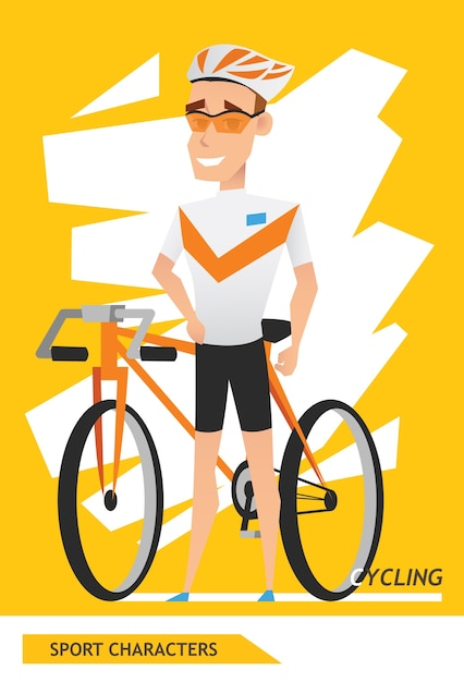 Sport characters cycling player Premium Vector