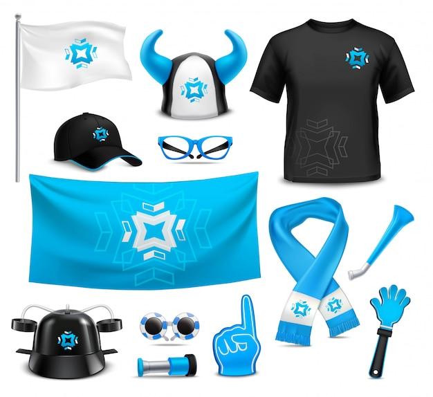 Sport club fans  accessories realistic set Free Vector