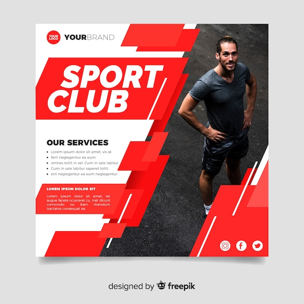 Sport club flyer with photo Free Vector