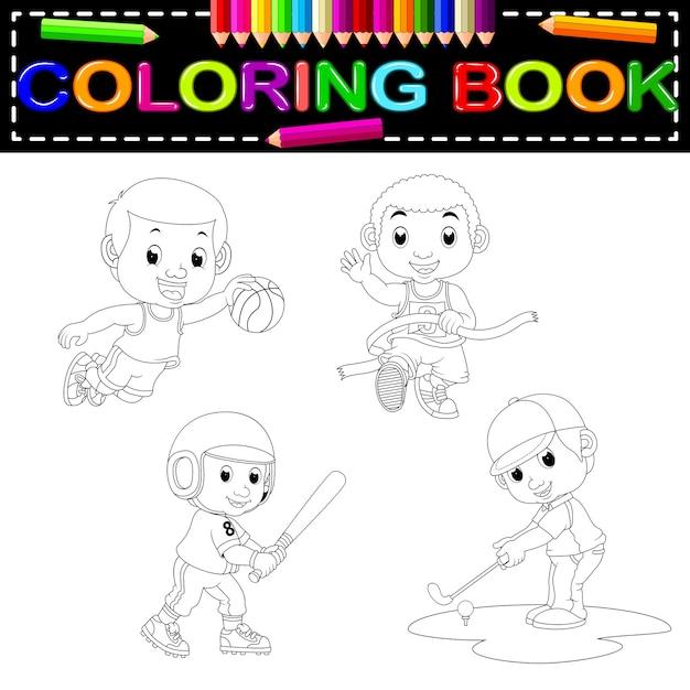 Sport coloring book Premium Vector