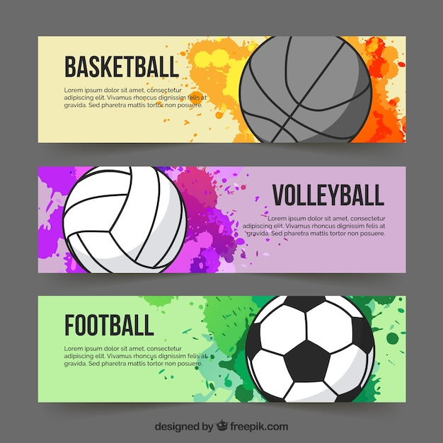 Sport colourful banners Free Vector