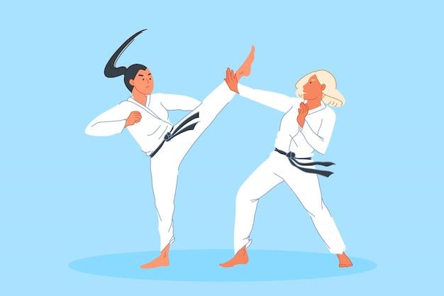 Sport competition, combat, athlete training, martial arts concept Premium Vector