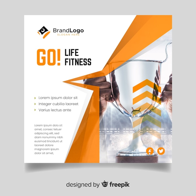 Sport cover template with photo Free Vector