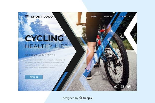 Sport cycling landing page Free Vector