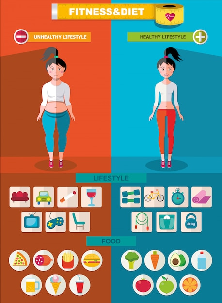 Sport and diet infographic template Free Vector