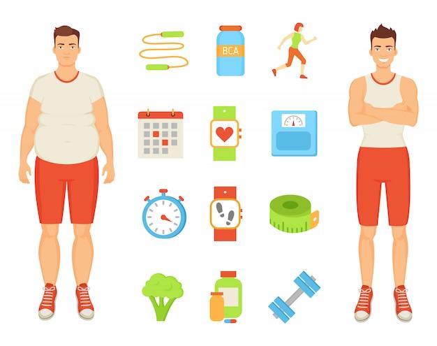 Sport and diet men with elements illustration Premium Vector