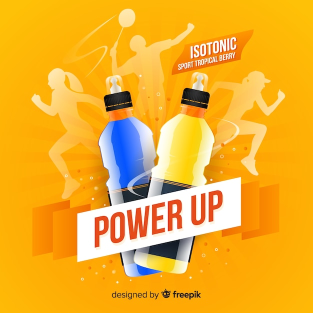 Sport drink advertisement with realistic design Free Vector