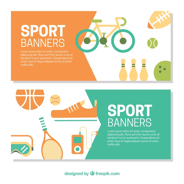 Sport elements banners in flat design