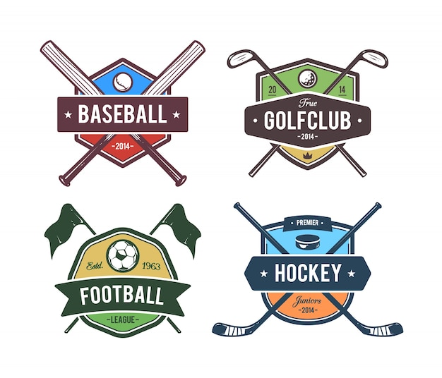 Sport emblems collection Free Vector